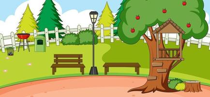 Outdoor scene with bench and apple tree in the park vector