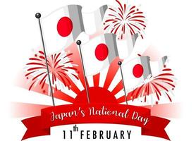 Japan's National Day banner with Flag of Japan and firework vector