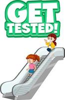 Get Tested font in cartoon style with children using escalator isolated on white background vector