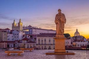 Statue at Miradouro de Santa Luzia in Lisbon, Portugal photo