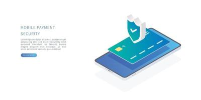 Online payment protection system with credit card and smartphone vector