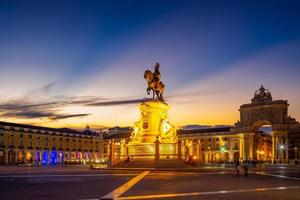 Night view of Commerce Square in Lisbon, Portugal photo
