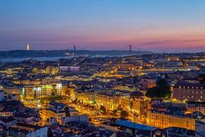 Skyline of Lisbon at twilight in Portugal photo