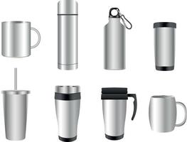 Stainless steel travel mug vector collection
