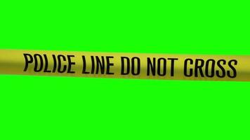 video of a Police caution tape 4K resolution. Filmed on a Green Screen background