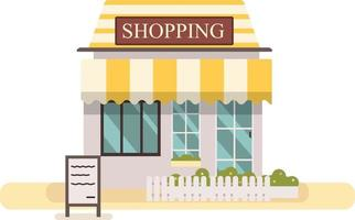 Shop or market store.Cute flat design store buiding vector illustration.Facade shopping store building with white fench and grass