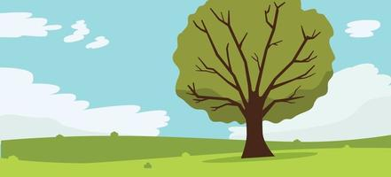 Nature landscape with tree , clouds and sky background.Vector illustration.Mountains Hills Green Grass and big tree.Beautiful summer landscape.Rural landscape with hills and fields at dawn. vector