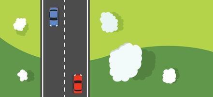 paisaje natural con carretera, nubes y coches vista superior vector.Camino rural con diseño de banner de coche.Camino a la escena de la naturaleza backgroud vector