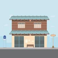 Thai house design on main street with bus stop and city background vector illustration.Home Bangkok city style on the road.Old home in flat design