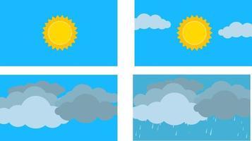 Weather cartoon flat design vector.Season scene in sky.Sunny ,cloudy, windy and rainy weather. vector