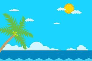 Sea and sky background summer.Tropical scene with ocean.Coconut tree and seascape. vector