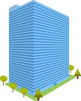 High Building perspective with trees element.Tower office isolated white background.Business tower vector