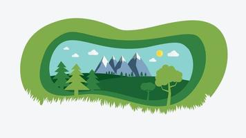 nature landscape with paper cut style design vector illustration.Green natural field with trees , hills , mountains and sky background.Summer with beautiful nature scene.