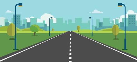 Cityscape scene with road , trees and sky background vector illustration.Main street to town concept.Urban scene with nature background.Beautiful nature landscape.