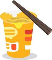 Spicy Cup noodle with Chopstick flat design vector. vector