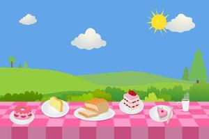 Outdoor picnic with bakery and nature background.Food with table in public park vector