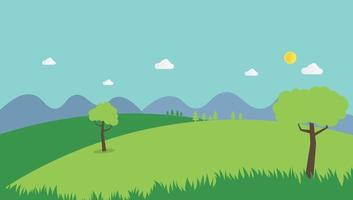 Nature landscape summer background flat design vector.Scene nature with hills , mountains and sky background.Countryside with field. vector