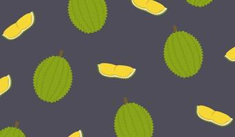 Durian and cut piece pattern background vector.King of fruit design pattern.Tropical friut flat style. vector