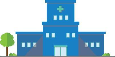 Flat hospital buiding outdoor design icon.Vector illustration.Medical buiding center with tree. vector