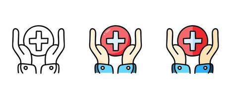 Contour and color hand symbols with a red cross vector