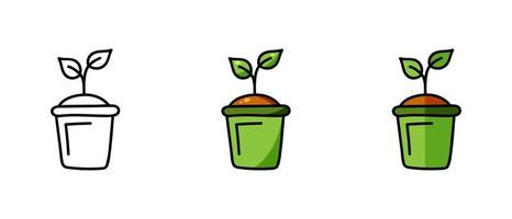 Contour and color symbols of a sprout in a pot vector