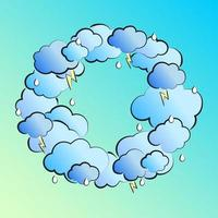 Retro illustration in comic style with clouds, lightning and raindrops vector