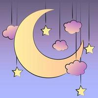 Retro illustration in comic style with moon, clouds and stars vector