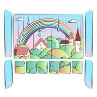 Retro comic style illustration with city skyline, park, rainbow and raindrops vector
