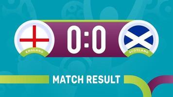 england scotland match result, European Football Championship 2020 vector illustration. Football 2020 championship match versus teams intro sport background