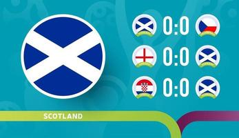 scotland national team Schedule matches in the final stage at the 2020 Football Championship. Vector illustration of football 2020 matches