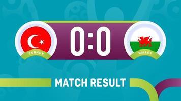 turkey vs wales match result, European Football Championship 2020 vector illustration. Football 2020 championship match versus teams intro sport background