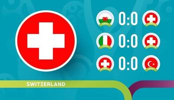switzerland national team Schedule matches in the final stage at the 2020 Football Championship. Vector illustration of football 2020 matches.