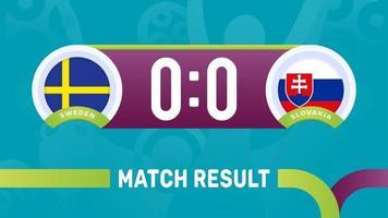 resultado del partido de suecia eslovaquia, campeonato europeo de fútbol 2020 ilustración vectorial. Campeonato de fútbol 2020 partido contra equipos intro fondo deportivo vector