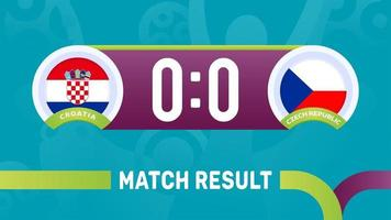 croatia czech republic match result, European Football Championship 2020 vector illustration. Football 2020 championship match versus teams intro sport background