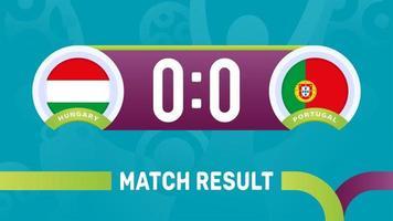 hungary portugal match result, European Football Championship 2020 vector illustration. Football 2020 championship match versus teams intro sport background