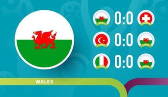 wales national team Schedule matches in the final stage at the 2020 Football Championship. Vector illustration of football 2020 matches.
