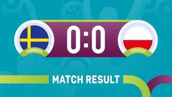 Suecia, Polonia, resultado del partido, campeonato europeo de fútbol 2020 ilustración vectorial. Campeonato de fútbol 2020 partido contra equipos intro fondo deportivo vector