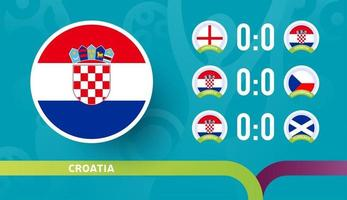 croatia national team Schedule matches in the final stage at the 2020 Football Championship. Vector illustration of football 2020 matches