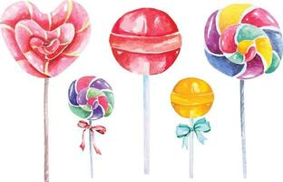 Lollipop, Candy hand painted with watercolors vector