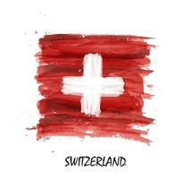 Watercolor painting flag of Switzerland . Vector .