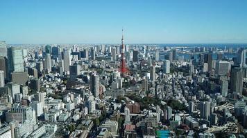 Aerial view of buildings in Tokyo, Japan video