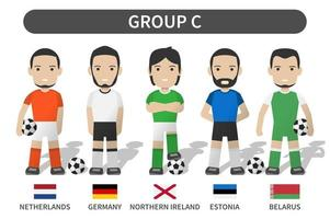 European soccer cup tournament qualifying draws 2020 and 2021 . Group C . Football player with jersey kit uniform and national flag . Cartoon character flat design . White theme background . Vector .
