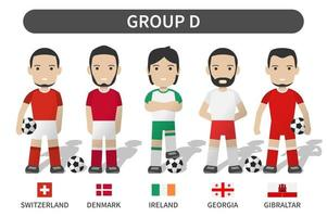 European soccer cup tournament qualifying draws 2020 and 2021 . Group D . Football player with jersey kit uniform and national flag . Cartoon character flat design . White theme background . Vector .