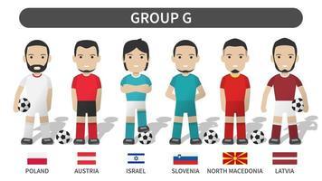 sorteos clasificatorios de la copa europea de fútbol 2020 y 2021 grupo g. jugador de fútbol con uniforme de camiseta y bandera nacional. diseño plano de personaje de dibujos animados. fondo blanco del tema. vector. vector