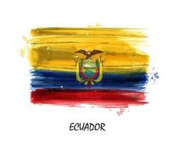 Bandera de pintura de acuarela realista de ecuador. vector. vector