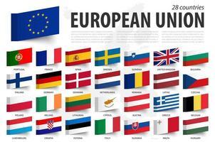 bandera y miembro de la unión europea. diseño de notas adhesivas. Fondo del mapa de Europa. vector