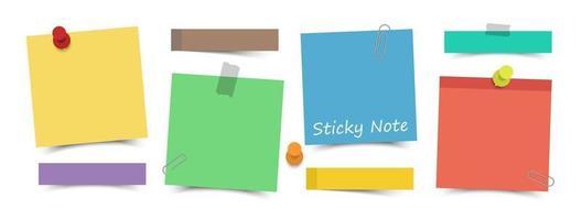 diseño plano notas adhesivas de color multicolor con pin, cinta adhesiva y clip de papel sobre fondo de pizarra. vector. vector