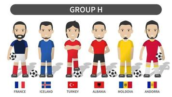 European soccer cup tournament qualifying draws 2020 and 2021 . Group H . Football player with jersey kit uniform and national flag . Cartoon character flat design . White theme background . Vector .