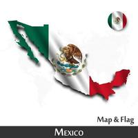 Mexico map and flag . Waving textile design . Dot world map background . Vector