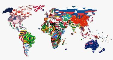 World map and all national circle country flags . Flat design . Creative concept . Vector .